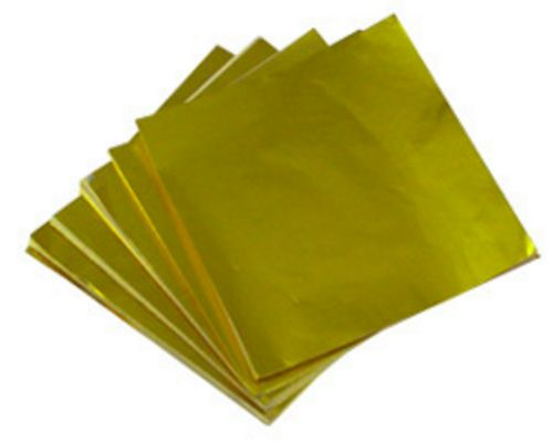 GOLD - 3 1/4 X 3 1/4 Candy Wrapper FOIL Sheets (Qty 500)