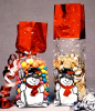 2 3/4 x 2 x 11 SNOWMAN Foil Accented Stand Up Deluxe Gusseted Cello Bags w/SOFT BOTTOM 1# (Qty 25)
